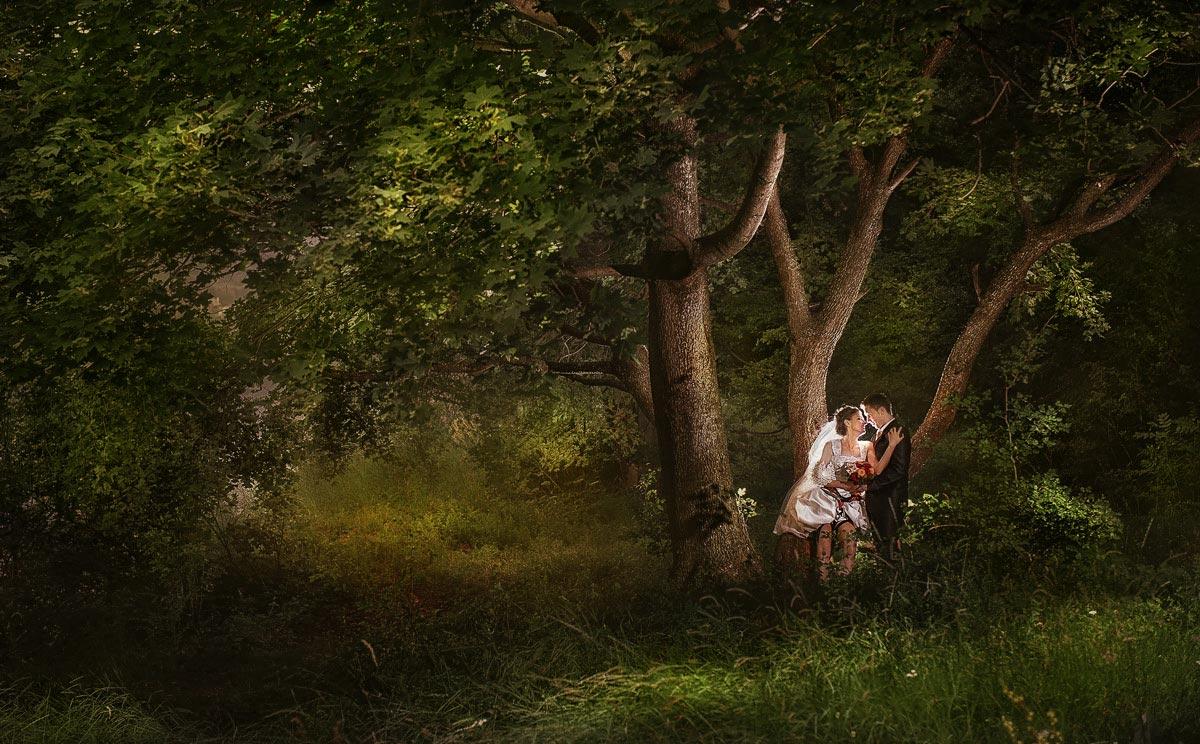 Traumhaft Aussicht in die Thüringen Wald mit Brautpaar unten ein großen Baum