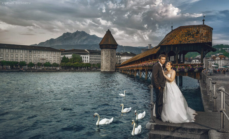 Luzern Hochzeitsfotos vor den Luzern Kapellbrücke