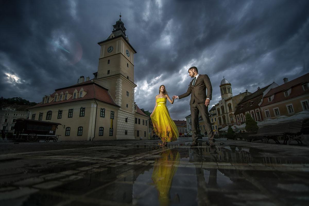 Hochzeitsfotografie im Regen am Hochzeitstag gemacht