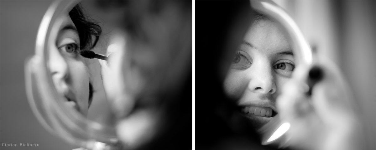 Luzern Braut Vorbereitung mit Make-up in einen Spiegelreflektion