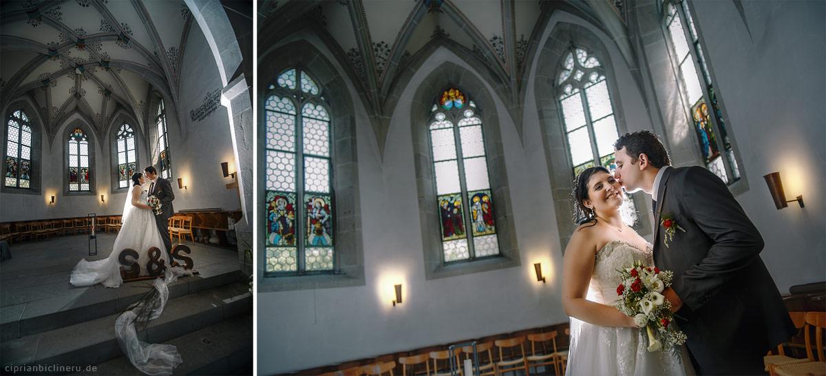Brautpaarshooting im einem Luzern Kirche von Hochzeitsfotograf Luzern Ciprian Biclineru