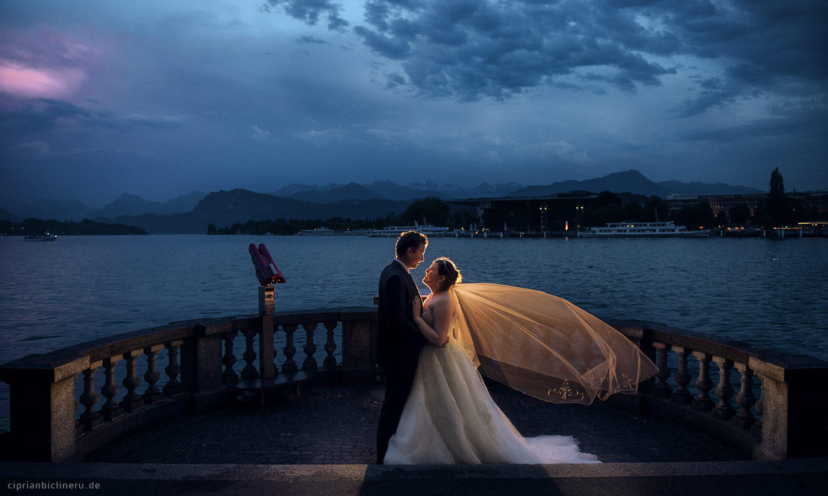 Luzern Hochzeitsfotograf macht wunderbare Abendlicht Hochzeitsfotos