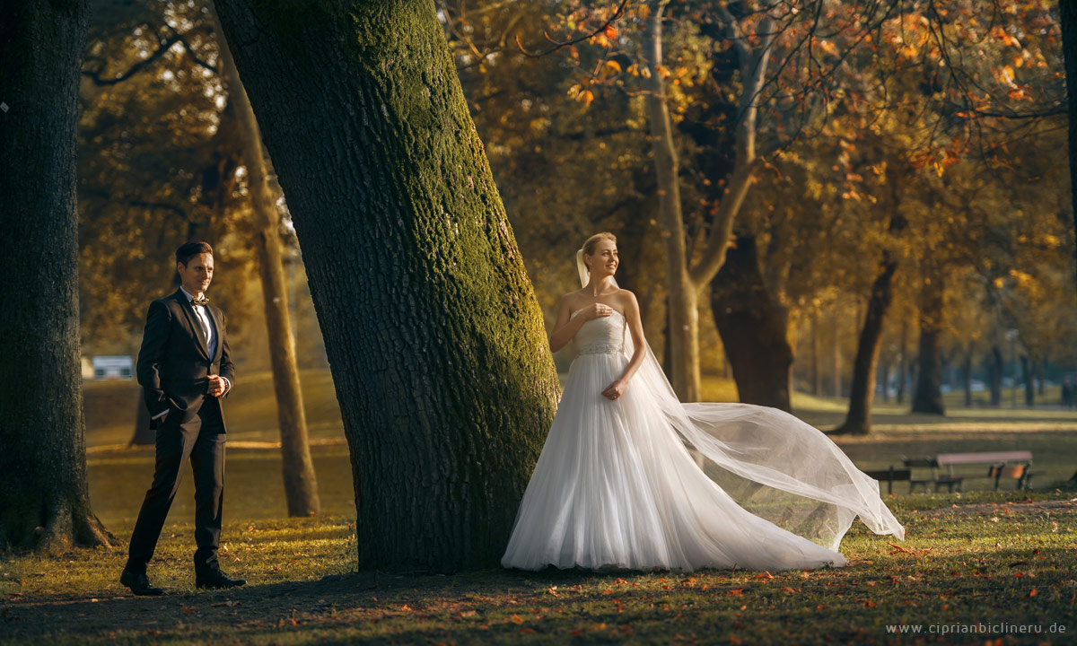Wundershönen Park für Brautpaarshooting in Bologna