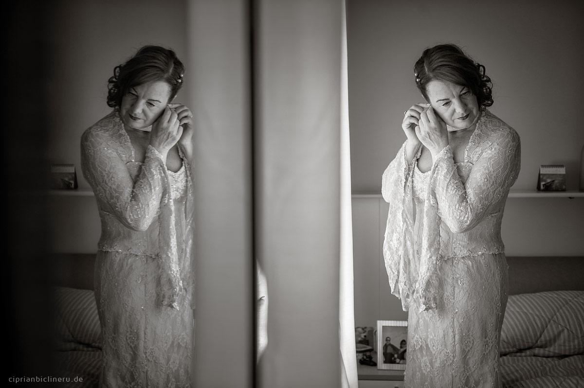 Braut Hochzeit Vorbereitung in einem Sepia Fotografie