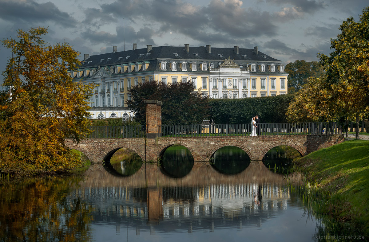 Hochzeit in Brühl und Brautpaarshooting auf Schloss Augustusburg und Feier im Kaiserbahnhof 15