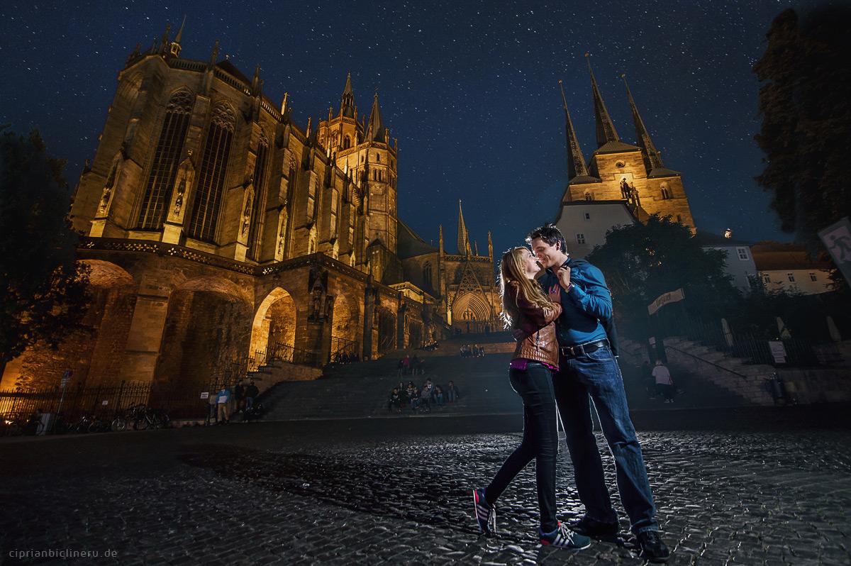 Fotoshooting im Erfurt am Domplatz in der Nacht
