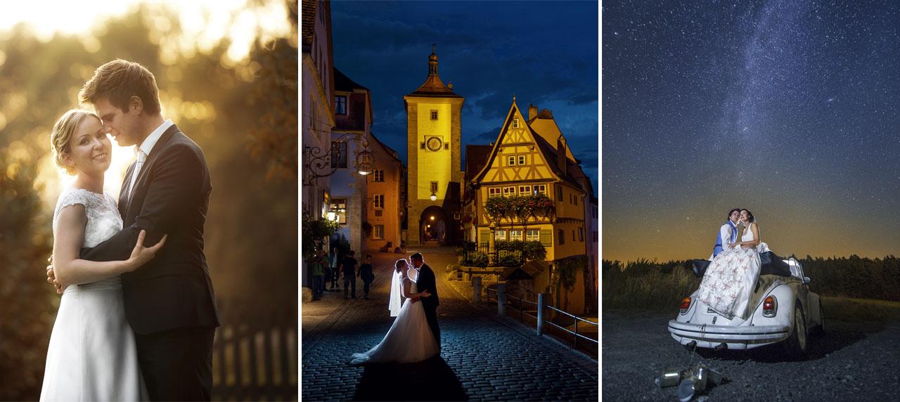Brautpaarshooting in goldene stunde blaue stunde und nacht