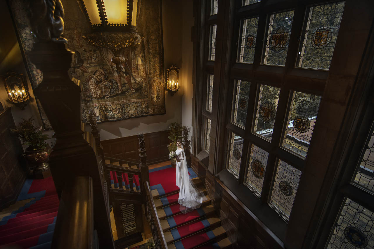 Wedding at the Castle Kronberg - Bride on the stairs